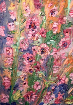 Hollyhock, Original, Oil Paint, Flowers, Light, Textured Signed.