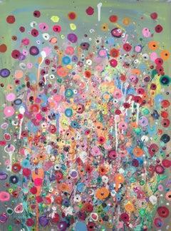 Wish Me A Garden, Original, Acrylic Paint on Canvas, Pastel soft pinks violet.