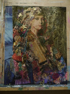 Poise, Original, Collage, Gold Leaf, Ink, Acrylic, Cardboard Signed and dated.