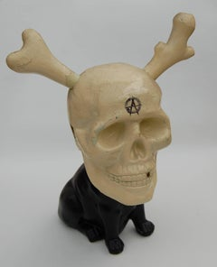 Pug Rock, china dog, moulded skull, monochrome, contemporary,  original