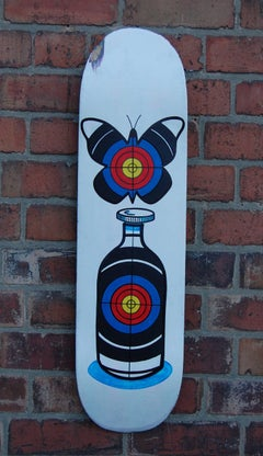 Target, skateboard deck, bottle, butterfly, vivid painting, contemporary, signed
