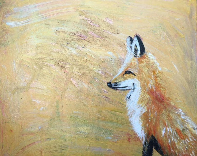 Golden Fox Oil Paint on Canvas Original, Signed, Childrens Illustrator