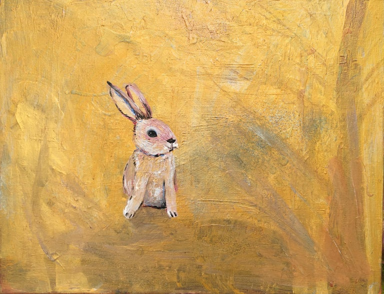 Tiny Original, Bunny on Canvas, golden hue, childrens illustrator Signed