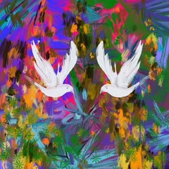 Two Doves, vibrant, abstract, signed, print, great reviews