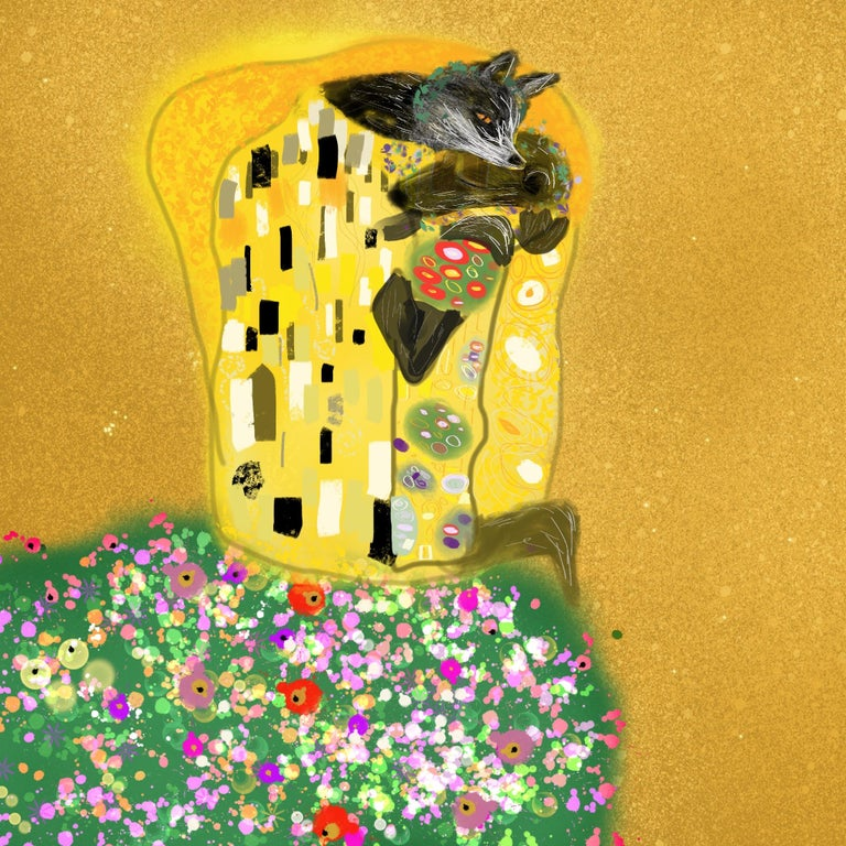 Claire Westwood Landscape Painting - Nod to the Kiss Limited edition of 30 Klimt inspired Personally signed Few left