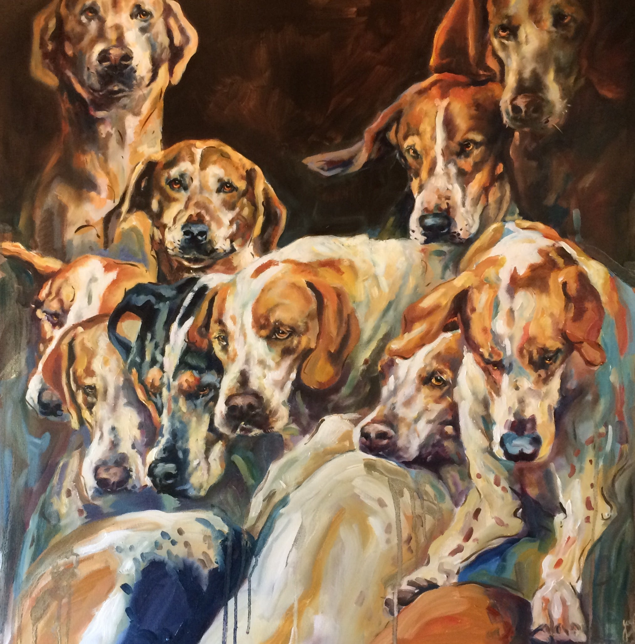 Hounds Please! Oil paint on canvas high energy piece, excellent review, dogs,
