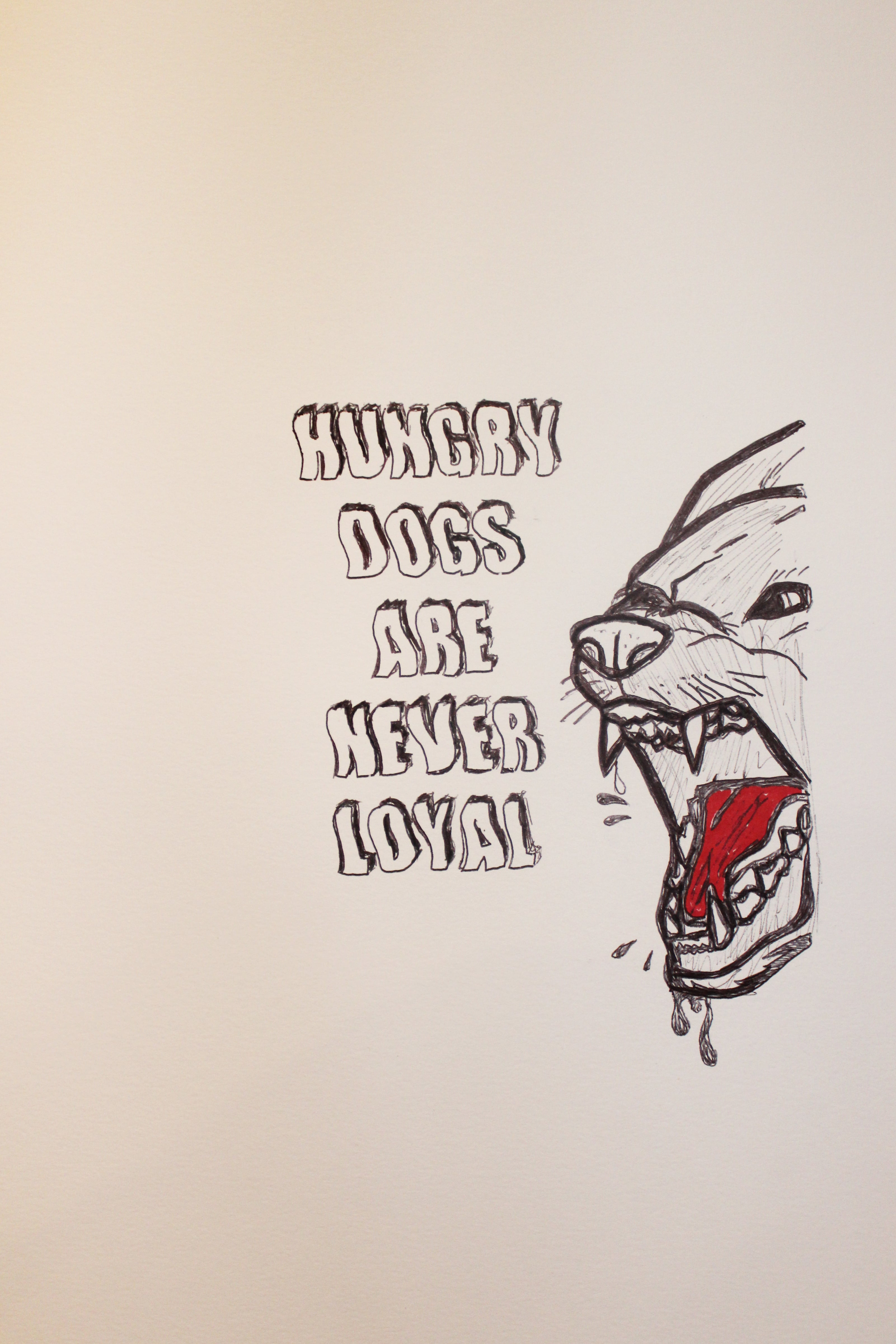 Hungry Dogs Original slogan red and black pen love island eval booker signed