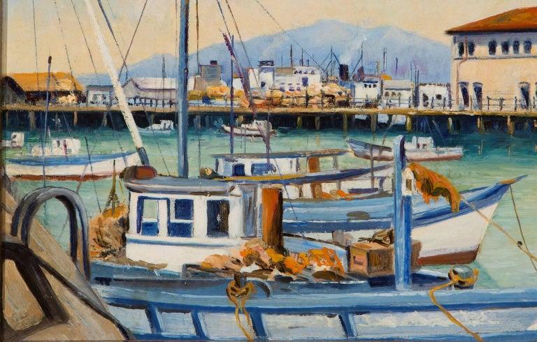 Fisherman's Wharf, San Francisco - American Modern Painting by Herman E. Lauter