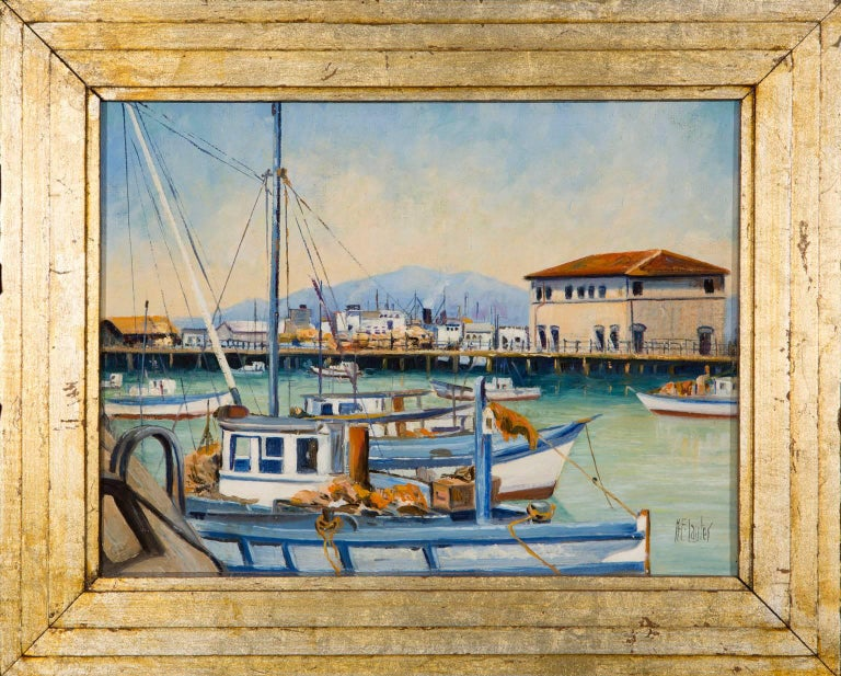 Fisherman's Wharf, San Francisco - Gray Landscape Painting by Herman E. Lauter