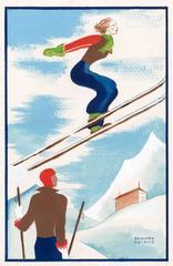 Original Art Deco Gouache of Skiers, circa 1920