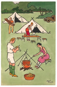 French Campers Gouache by Joseph Hémard