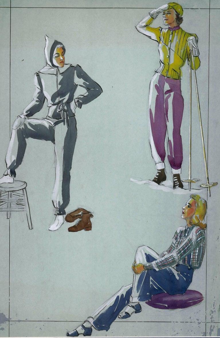 Unknown Figurative Art - Skiing Fashion Illustration
