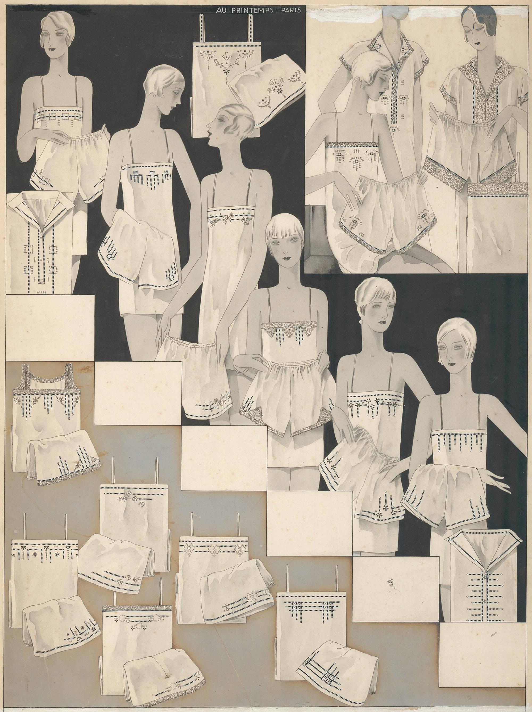 Lingerie illustration for 1929 Au Printemps Catalog.