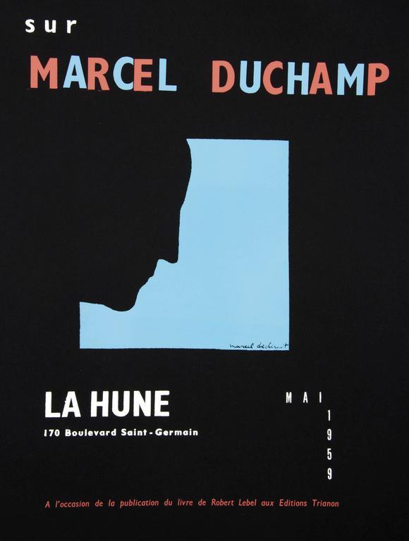 Marcel Duchamp Portrait Print - DUCHAMP. Five Original Duchamp Screen-Print Posters: Self Portrait in Profile