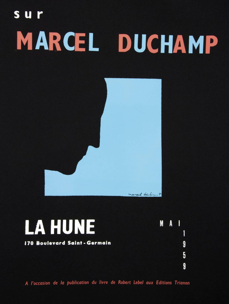 Marcel Duchamp Portrait Print - DUCHAMP. Five Original Duchamp Screen-Print Posters: Self Portrait in Profile