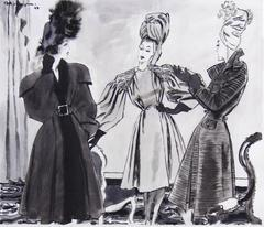 Balenciaga, Madame Grès and Rochas Fashion Illustration