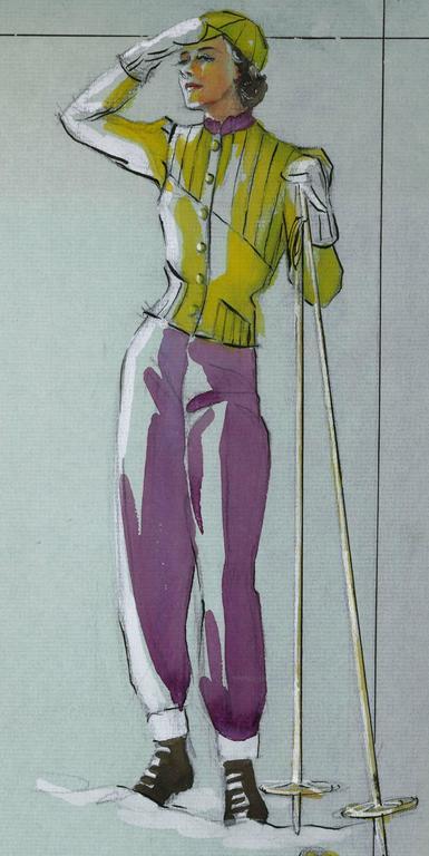 Skiing Fashion Illustration For Sale 1