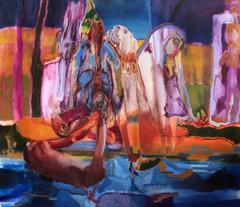 Wailing Sisters, Maja Ruznic, Oil Paint, Figurative Abstraction, Abstract