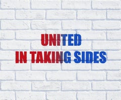 United in Taking Sides, 2016, Adam Mars, Acrylic, Spray Paint, Faux Brick Panel
