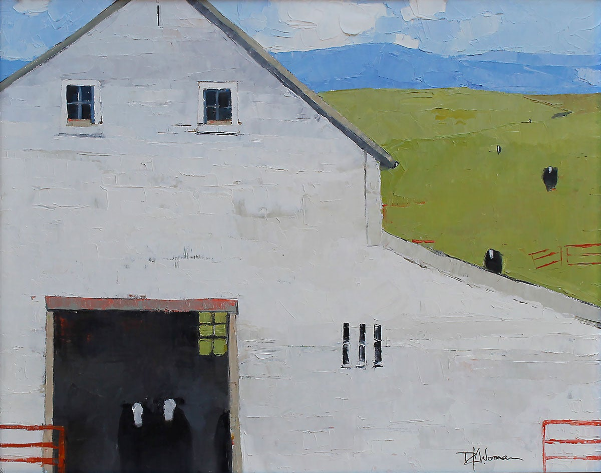 Dinah Worman Black Cows White Barn Painting At 1stdibs