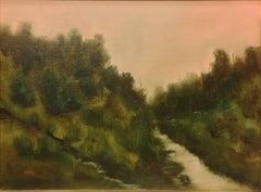 Convergence (lush landscape, river, pastel sky)