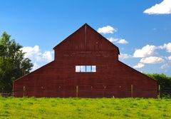 Red Barn (barn, red, green grass, blue sky)