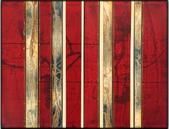 Redpines (abstract, red, vertical lines, painting)