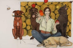 Like a Moth to a Flame (woman, dogs, juggling, large portrait)