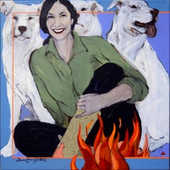 Laughter by Firelight (cowgirl, campfire, dogs)