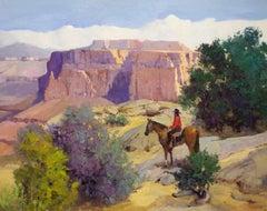 Western Expanse (landscape, cowboy, horse, desert)