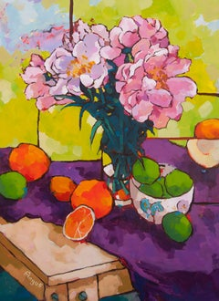 Embracing the Sun on Purple (still life, flowers, fruit)