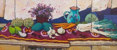 Campanula and Jug on Long Table (still life, fruit, vegetables, flowers)