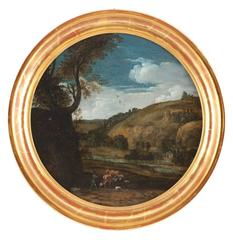 A Pair: Roman Landscapes with figures and ruins