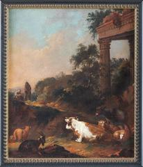 An Italianate Landscape With Herders, Cattle And Goats