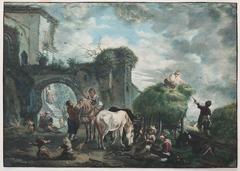 Peasants hay-making and resting near a ruinous town wall with gate