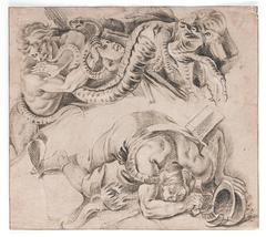 Studies of a fallen warrior and a soldier fighting with a dragon