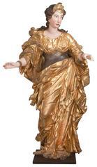 Two lifezize Italian Baroque Sculptures of Princesses, Workshop of Brustolon