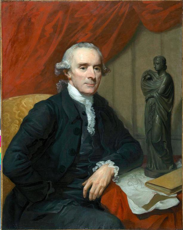 A portrait of Nathaniel Chauncey (1717-1790), sitting at a table