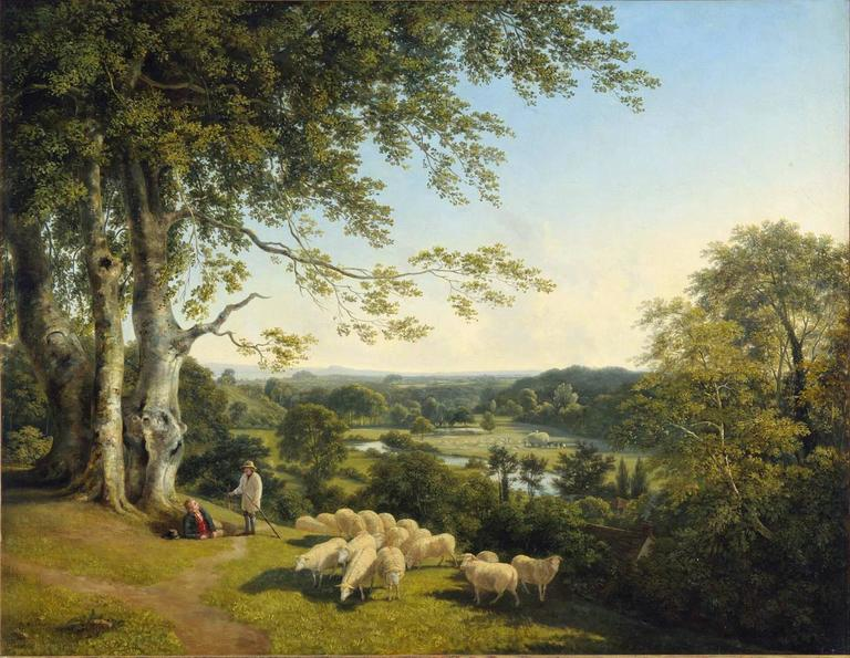 William Mulready Animal Painting - A pastoral landscape with shepherds tending their flock