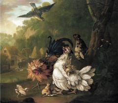 An assembly of farmyard fowl and other birds