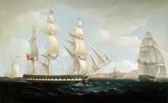A marine painting - The East Indiaman 'Ceres' in two positions off St. Helena