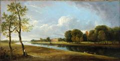 A panoramic landscape of a view on the Thames at Twickenham
