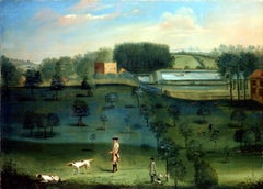 A gentleman shooting in a landscape, with a country house beyond