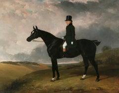 "Portrait of Daniel Haigh of the Old Surrey on his dark bay hunter ""Kitten"""