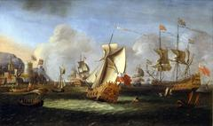 King William III off the coast of Ireland, June 1690 with an English Royal Yacht