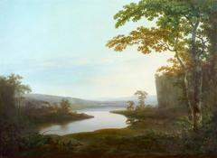A river landscape of Dinting Vale Mill and the Glossop Valley, Derbyshire