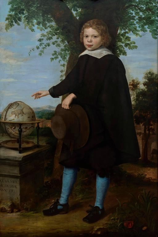 The Monogrammist S.S. - Full-length portrait of Jan Van Swieten standing in a landscape 1