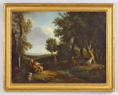 Classical landscape with figures resting by a pool at the edge of a wood