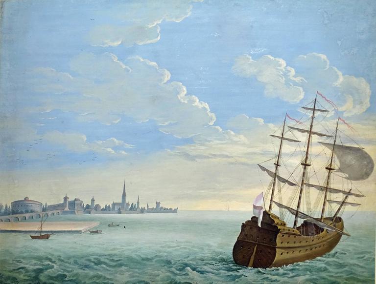Flemish School Landscape Painting - Shipping scene