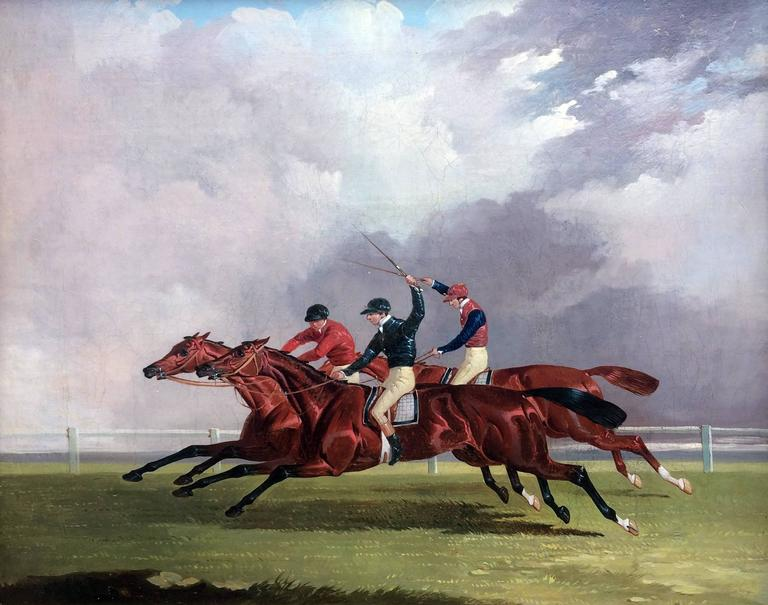 Joshua Dalby Animal Painting - The St. Leger, Doncaster, 1843